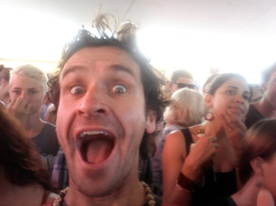 Jamie in the moment in the crowd.